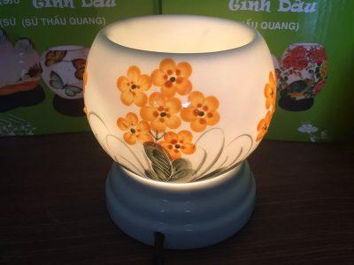 Đèn Xông Tinh Dầu Bát Tràng Mini Miệng Tròn Cúc Hoa