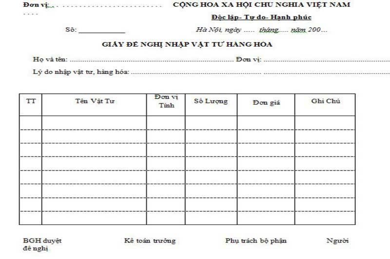 Mẫu giấy đề xuất mua văn phòng phẩm