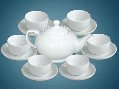 Bộ ấm trà Bát Tràng dáng Giang Tây Trắng sứ 550ml