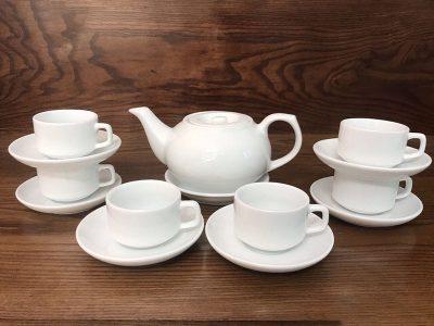 Bộ ấm trà Bát Tràng dáng CK nắp bẹt Size lớn Trắng sứ 650ml