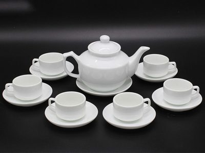 Bộ ấm trà Bát Tràng dáng HongKong Trắng sứ 600ml