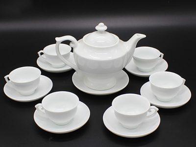 Bộ ấm trà Bát Tràng dáng đèn thần sứ trắng - 600ml
