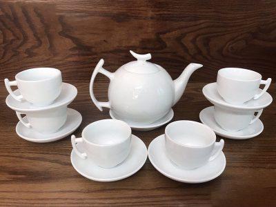 Bộ ấm trà Bát Tràng dáng Bưởi Cành Trắng sứ 650ml