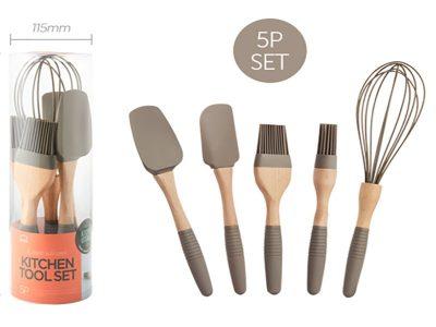 Bộ dụng cụ nhà bếp 5P bằng nhựa Silicone hiệu Lock&Lock - LLT023