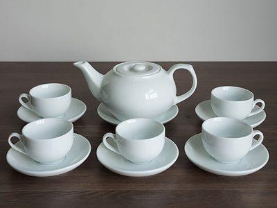 Bộ ấm trà Bát Tràng dáng CK nắp bẹt Size nhỏ Trắng sứ 500ml