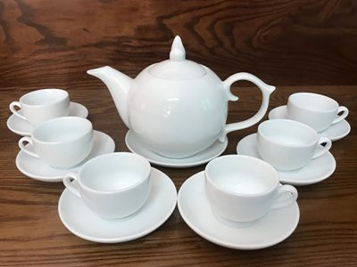 Bộ ấm trà Bát Tràng dáng Bưởi S2 Trắng sứ 650ml