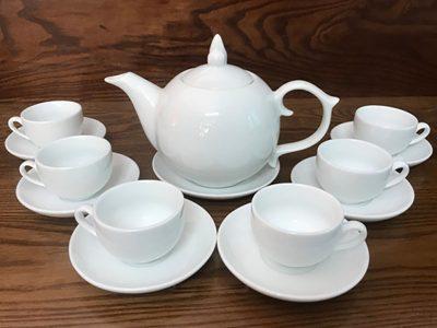 Bộ ấm trà Bát Tràng dáng Bưởi S3 trắng sứ 600ml