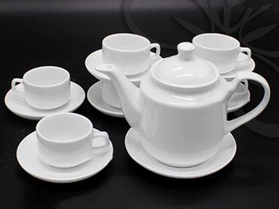 Bộ ấm trà Bát Tràng dáng Tiệp Trắng sứ 520ml