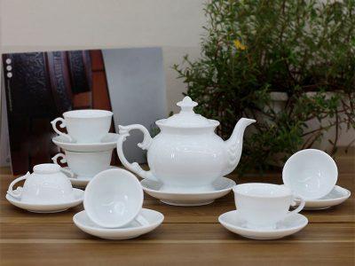 Bộ ấm trà Bát Tràng dáng Cát Tường Trắng sứ 550ml
