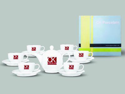Bộ Tách Trà 560-7 Sứ CK (trắng - in logo)