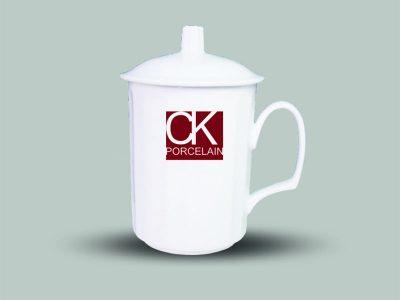 Ly sứ in Logo Có Nắp D2.4BL sứ CK